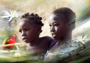 art numerique personnages enfants mali pays dogon personnage : REPRODUCTION IMAGE ART AFRIQUE NATURE MALIENNE