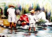 tableau paysages riviere lavandiere femmes antilles : REPRODUCTION IMAGE ART ANTILES LA RIVIERE EN MARTINIQUE
