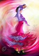 art numerique sport danseuse danse andalouse folklore : Reproduction image d'art Creation  Ydan Affiche VIOLETTE AN