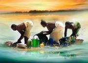 art numerique personnages riviere mali lavandiere niger : REPRODUCTION IMAGE ART LAVANDIERES DU NIGER