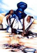 art numerique personnages touareg desert feu afrique : IMAGE ART REPRODUCTION SAHARA TOUAREG BLEU
