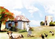 art numerique paysages case antilles animaux ferme : REPRODUCTION ART ANTILLES LA CASE AU COQ