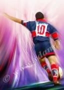 art numerique sport rugby buteur demi d ouvertur rugbyman : Reproduction image d'art Creation  Ydan Affiche TRANSFORMAT