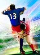 art numerique sport rugbyman placage joueurs stade francais : Reproduction image d'art Creation  Ydan Affiche RUGBY 3/4 C