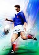 art numerique sport rugby drop buteur rugbyman : Reproduction image d'art Creation  Ydan Affiche RUGBY DROP