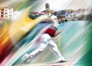 dessin sport cesta punta st jean de luz champion chistera : Tableau peinture PELOTE BASQUE CHAMPION DE CESTA PUNTA AU PAYS B