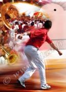 art numerique sport pelote basque main nue cesta punta fiesta : Reproduction image d'art Creation  Ydan Affiche MAIN NUE IM