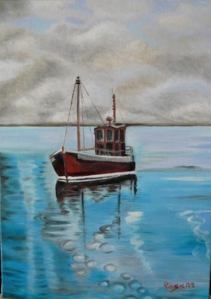 TABLEAU PEINTURE paysage marin calme bleu mer Marine Peinture a l'huile  - Calme Bleu