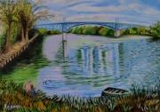 """tableau paysages bords de marne paysage marin pecheur : """"Le pêcheur des bords de marne"""