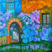 tableau fleurs fleurs peinture huile bretagne : Les Hortensias