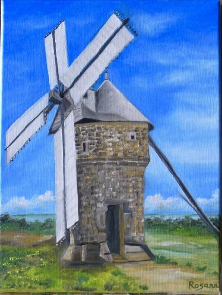 """TABLEAU PEINTURE Batz-sur-mer Moulin de Batz Loire atlantique Presqu'île du c Paysages Peinture a l'huile  - """"Moulin de Batz"""""""