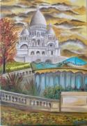 tableau paysages montmartre paris sacrecoeur monument : Douceur d'Automne, Montmartre