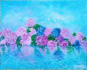 tableau fleurs reflets hortensias peinture huile : Reflets d'Hortensias