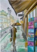 """tableau architecture paris elegance paris rue de paris architecture paris : """"Rain in Paris"""""""