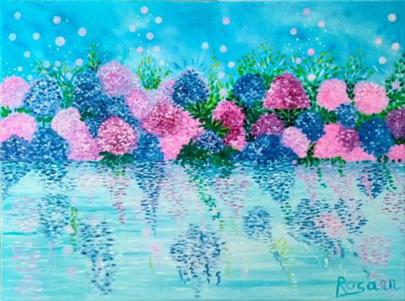 TABLEAU PEINTURE Blue lagoon blue oil painting reflections hydrangeas Abstrait Peinture a l'huile  - Blue Lagoon