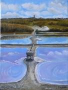 """tableau paysages loire atlantique batzsurmer moulin de batz : """"Marais salants de Batz"""""""