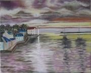 """tableau marine crepuscule bretagne sauzon belle ile en mer : """"Crépuscule"""""""