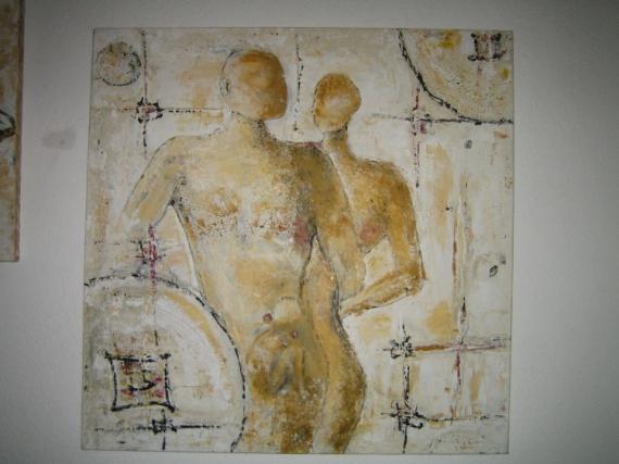 TABLEAU PEINTURE strasbourg peinture acrylique paternité Personnages Acrylique  - paternité