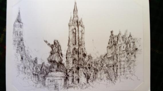 DESSIN Belgique Paysages Encre de Chine  - Sketch in Tournai