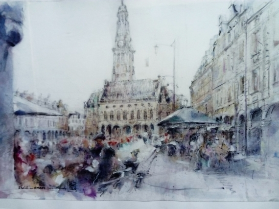 DESSIN Arras Place des héros Paysages Crayon  - Sketch in Arras