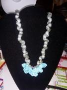 """bijoux autres coq pate gris paillettes : collier """"blue and grey"""""""