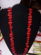 bijoux autres pate rouge paillettes : collier mini pates