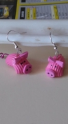 bijoux animaux pate cochon rose vernis : boucles cochons rose