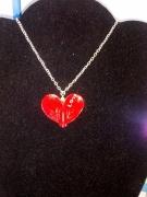 bijoux autres coeur pate rouge chaine : collier coeur