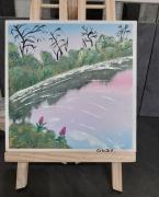 tableau paysages eau arbre ciel reflet : Bord de l'eau