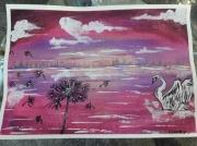 tableau animaux cygne fleur de pissenlit coucher de soleil paysage : Douce envolé