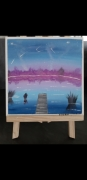 tableau paysages ciel etoiles lac nuit bleu : Pluie d'étoiles