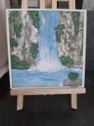 tableau cascade lagon rocher nature : Cascade
