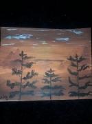 tableau paysages coucher de soleil arbre ombre orange : Savane