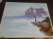 tableau paysages mer arbre bleu rose : Sérénité