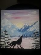 tableau animaux loup montagne coucher de soleil lac : L'appel à la nuit
