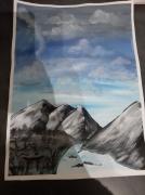 tableau paysages montagne riviere plaine gris : Montagne et rivière