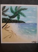 tableau paysages sable ocean palmier montagne : Bain de soleil