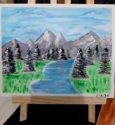tableau paysages montagne fleuve nature paysage : Vallée