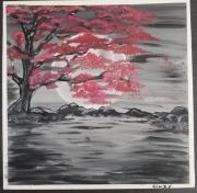 tableau paysages cerisier lune pleine asiatiques nuit : Arbre fleuri