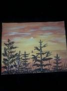 tableau paysages coucher de soleil arbre nuage jaune : Chaleur