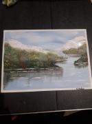 tableau paysages neige montagne riviere bleu : Apaisant