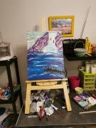 tableau paysages paysage pecheur cascade montagne : La cascade et le pêcheur