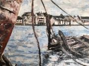 tableau marine epave bois flotte mer : Sur le rivage