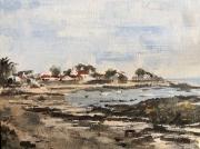 tableau paysages ile plage village marine : Noirmoutier