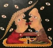 tableau personnages amour bonheur amoureux lovers : Le moment de l'amour