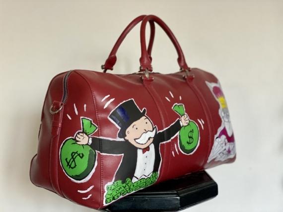 ART TEXTILE, MODE Picsou Monopoly Bugs Bunny Burns Personnages  - Keepall Money
