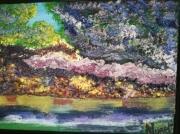 tableau paysages buissons multicolor sur riviere paysage encadre figuratif : Buissons  multicolores sur rivière