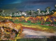 tableau courbe de riviere paysage encadre figuratif : COURBE DE RIVIERE