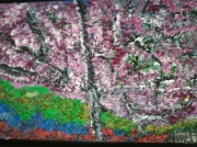 tableau paysages cerisiers en fleurs paysage encadre figuratif : CERISIERS EN FLEURS