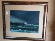 tableau paysages vague sur rocher pastel encadre : pastel vague sur rocher